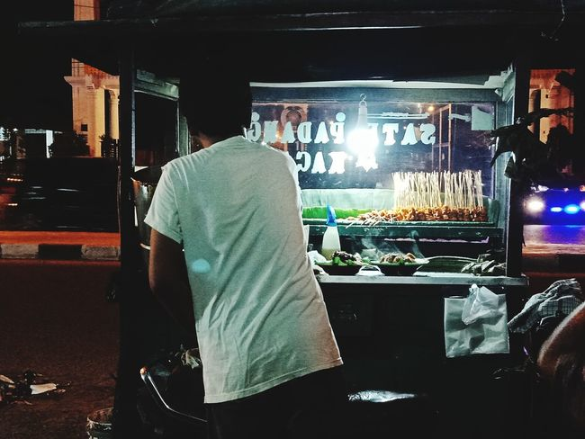 Yum..! Satay With Bamboo Stick Food Streetphotography Streetfood Old Time Classic Food Life POV Childhood Men Occupation Men Rear View Working This Is Masculinity EyeEmNewHere Stories From The City The Street Photographer - 2018 EyeEm Awards The Great Outdoors - 2018 EyeEm Awards The Traveler - 2018 EyeEm Awards The Photojournalist - 2018 EyeEm Awards