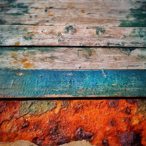 surface Surface Rust Wood - Material Plank Blue Orange Color Time As Time Goes By History History Through The Lens  Past Present Path Walking Pathway Backgrounds Backgrounds Textured  Full Frame Close-up Paint Wood - Material Weathered Pattern Rough Multi Colored Abstract