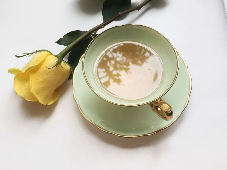 Yellow Rose Rose🌹 Rose - Flower Delicate Bone China Teacups TeaCup Tea Freshness Food And Drink Table High Angle View No People Refreshment Indoors  Drink White Background Close-up Yellow Flower Day