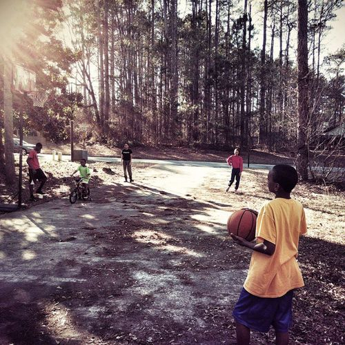 Outside playing 3PointShootout with the kids yesterday.