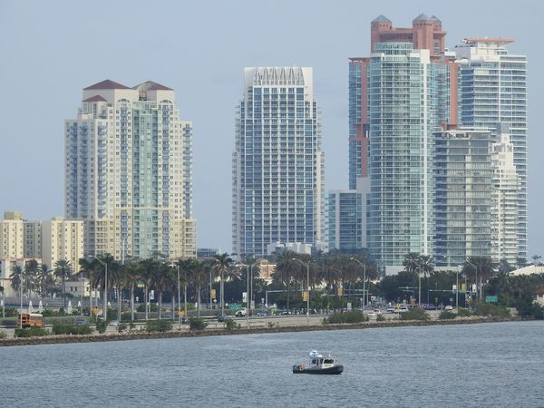Architecture Built Structures Buildings Condominiums Cars School Bus Cityscape City Life Nautical Vessel Police Boat Biscayne Bay Miami, FL From A Distance Waterfront Photography