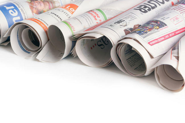 Newspaper rolls isolated on white background. Newspapers with copy space for your design Bright Newsprint Princess Text Textured  Backgrounds Communication Design Group Information Ink Journal Journalism Magazine News Newspaper Page Paper Pattern Published Recycling Rolls Serial Space White