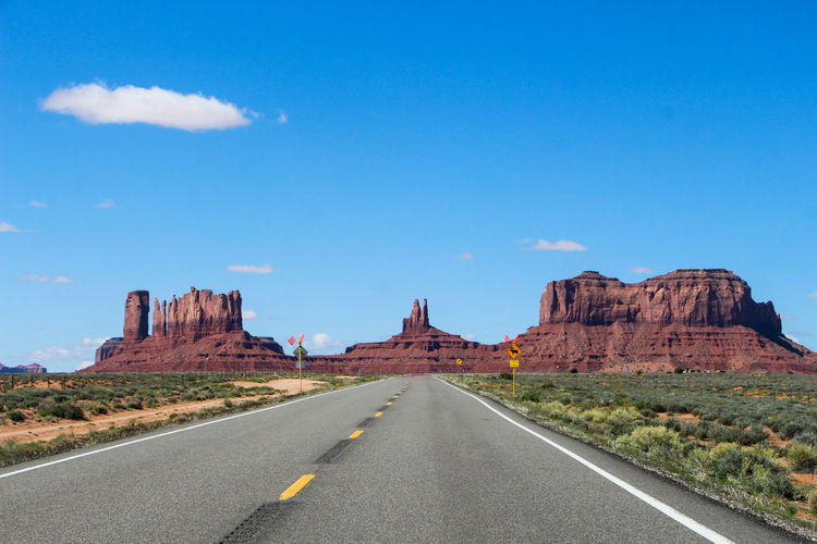 Sky Road Direction The Way Forward Rock Rock Formation Nature Rock - Object No People Scenics - Nature Transportation Tranquil Scene Non-urban Scene Cloud - Sky Diminishing Perspective Day Beauty In Nature Marking Solid Landscape Outdoors Formation Arid Climate Climate Arizona Desert