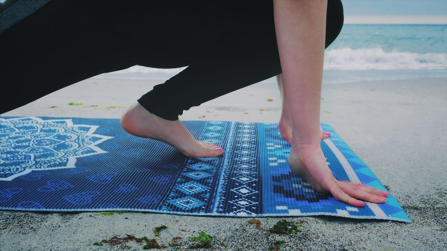 Real People Low Section Human Leg One Person Barefoot Human Body Part Beach Standing Women Lifestyles Outdoors Day Close-up People Scretchings Mat Yoga Legs Feet