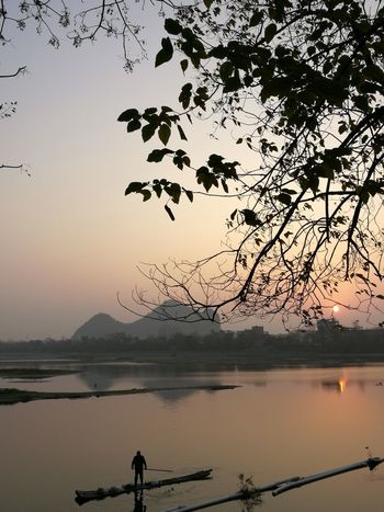 Morning work River View Fishman Sunrise Reflection Silhouette Water Nature Environment Outdoors Landscape Beauty In Nature Scenics Mountain