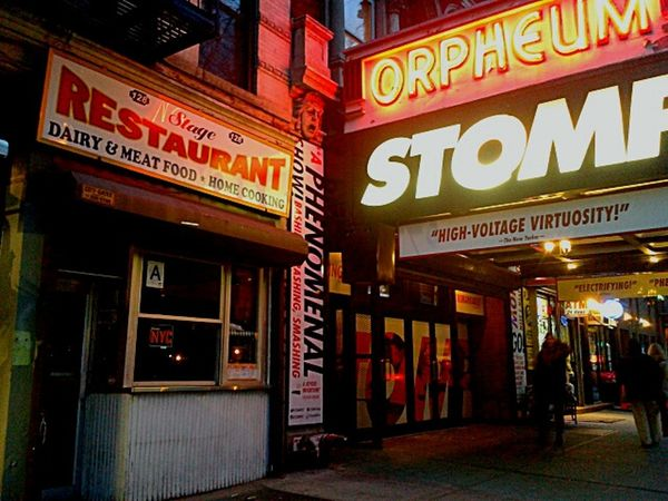 Old style Second Ave:nyc.photo by Shell Sheddy Shellsheddyphotography Sheshephoto Street Photography NYC Street Stage Restaurant Orpheumtheatre Orpheum Stomp Cities At Night The Street Photographer - 2016 EyeEm Awards