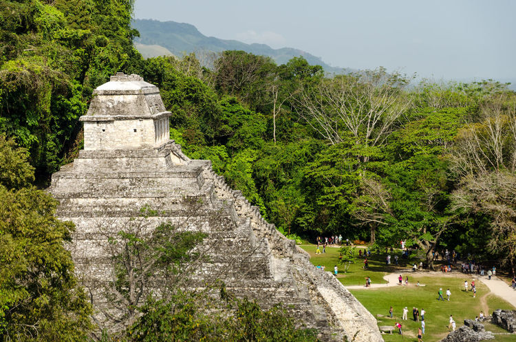 Temple of Inscriptions at Palenque with crowds of tourists down below Ancient Archeology Building Chiapas Forest Heritage History Holiday Jungle Maya Mayan Mexico Nature Old Palenque Precolumbian Pyramid Religion Ruin Stairs Stone Temple Travel Unesco View