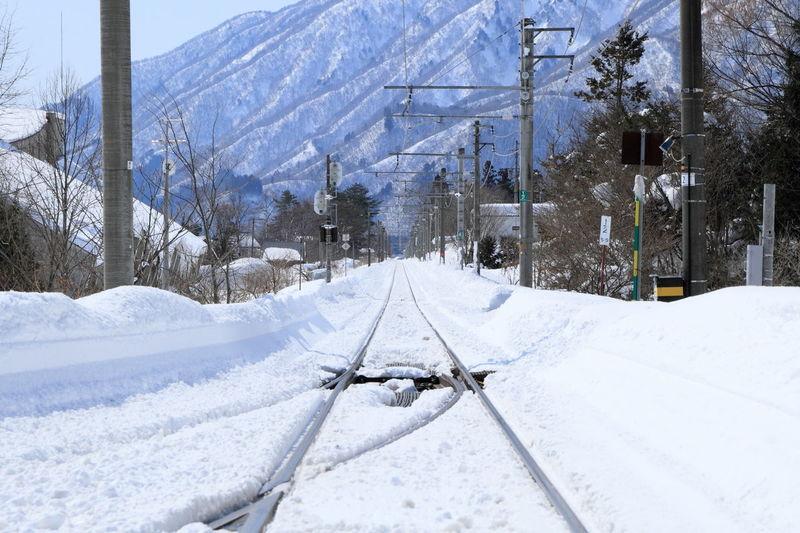 Snow scene Landscape Railroad Vanishing Point Snow2013.2 Winter