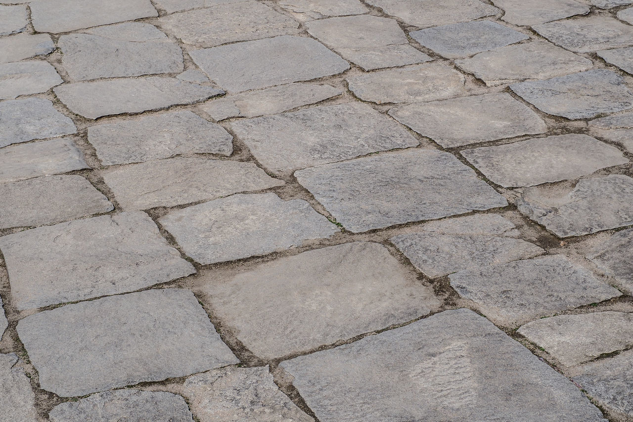 full frame, backgrounds, pattern, textured, footpath, no people, paving stone, stone, day, high angle view, cobblestone, solid, stone material, nature, street, close-up, rough, outdoors, city, gray, brick, concrete, stone wall, surface level, textured effect