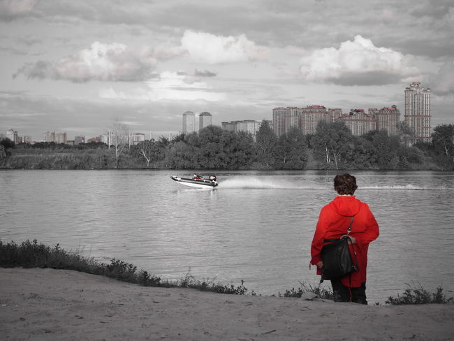 woman in red Red City Sky Day People One Person Rear View Boat Woman Sommergefühle Im Sommer Ein Kühler EyeEmNewHere