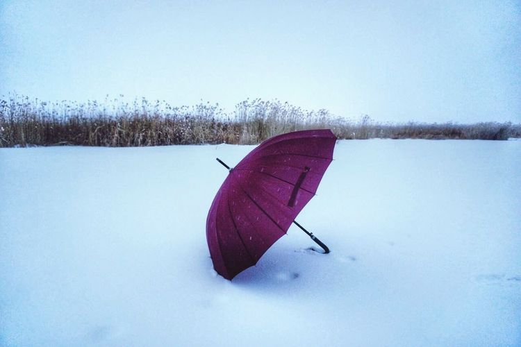 Taking Photos Umbrella☂☂ Snow ❄ Snowwhite Red Umbrella The Moment Enjoying Life Keep Walking Happy Time Snowsky