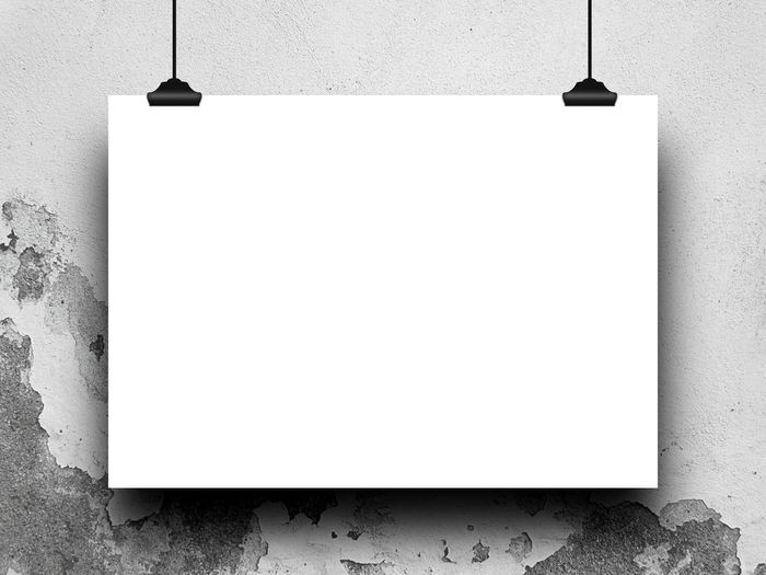 Close-up of one hanged horizontal paper sheet with clips on scratched wall background 2016 Backgrounds Blank Canvas Clips Day Empty Exterior Frame Horizontal Image Page Paper Photo Picture Placement  Portfolio Poster Product Rectangular Scratched And Cracked Wall Setting Template White