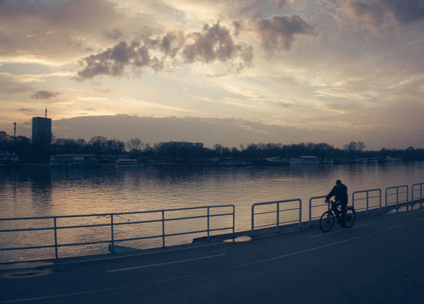 Belgrade Promenade Sava Architecture Bicycle Building Exterior Built Structure City Cycling Day Mode Of Transport Nature One Person Outdoors People Real People Riding River Sava River Silhouette Sky Sunset Transportation Tree Water