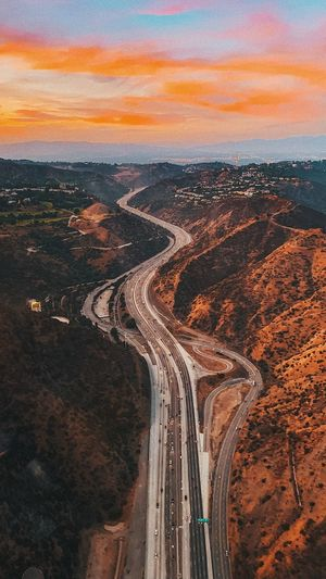 High angle view of highway during sunset