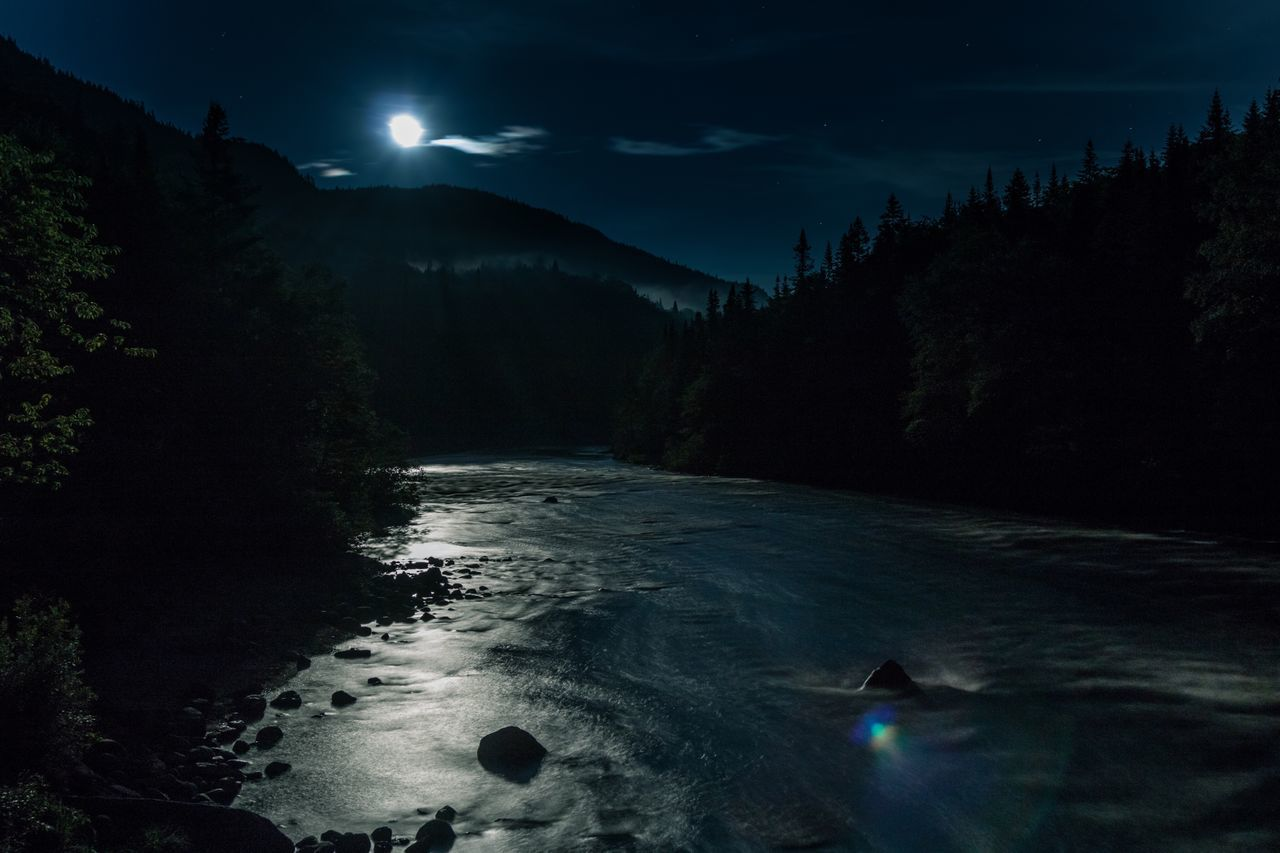 water, sky, night, scenics - nature, nature, beauty in nature, tree, tranquility, mountain, tranquil scene, no people, plant, land, cloud - sky, astronomy, non-urban scene, star - space, illuminated, moon, flowing water, moonlight