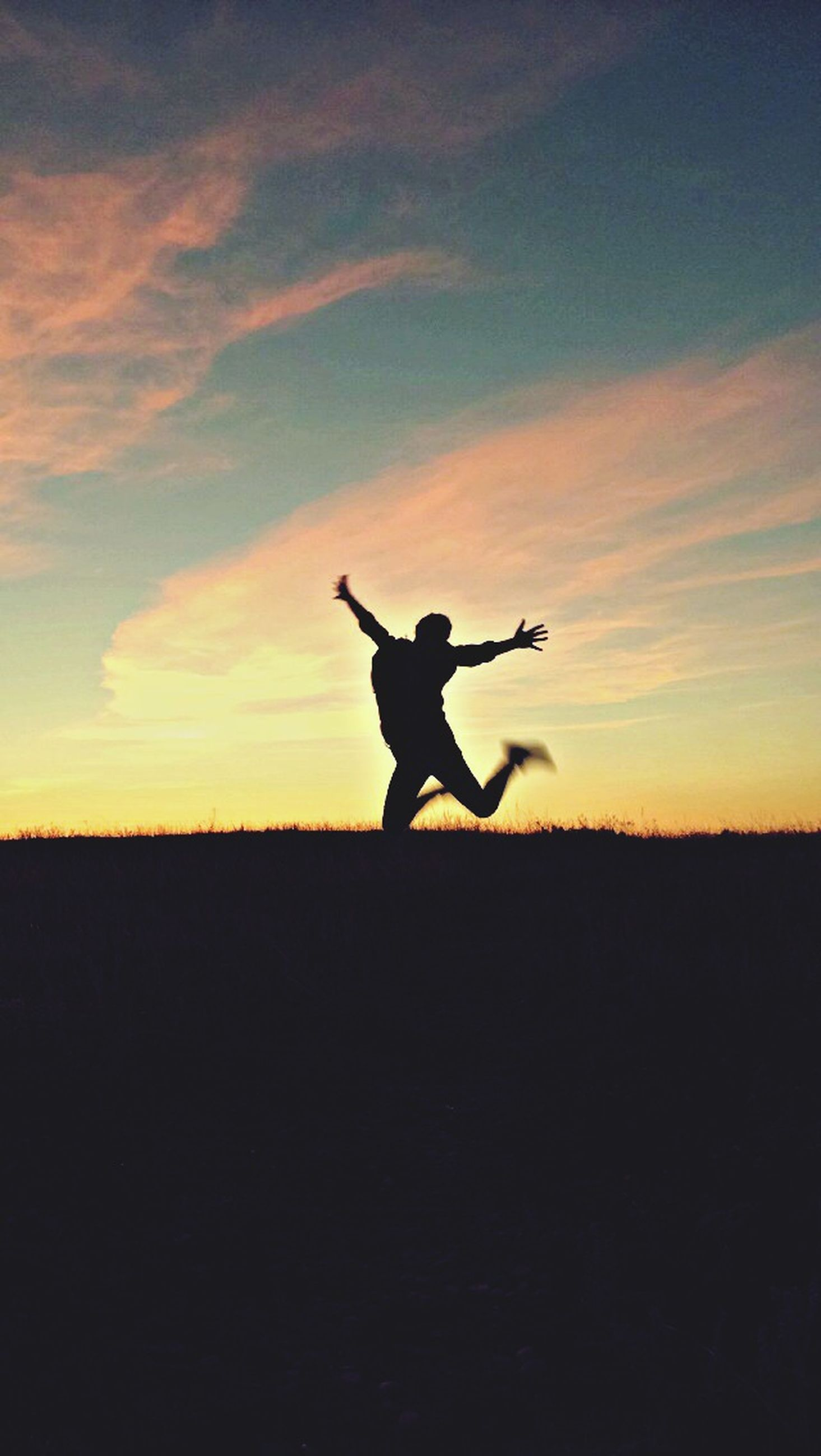silhouette, sunset, sky, full length, landscape, mid-air, field, orange color, jumping, nature, one animal, cloud - sky, horizon over land, tranquil scene, tranquility, lifestyles, beauty in nature, standing