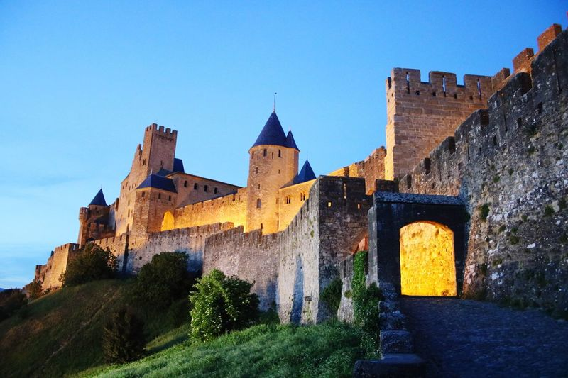 Architecture Built Structure History Building Exterior Castle Clear Sky Fort Outdoors No People Day Travel Destinations Blue Low Angle View Sky Nature Carcassone, France Light And Shadow France Castles Castle