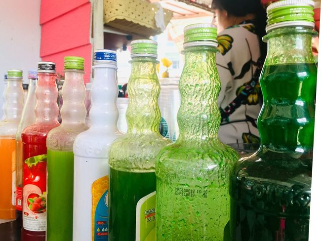 Bottle Container Drink Refreshment Food And Drink Variation Choice Glass - Material Multi Colored Green Color Day Alcohol Close-up No People Indoors  In A Row Food Freshness Jar