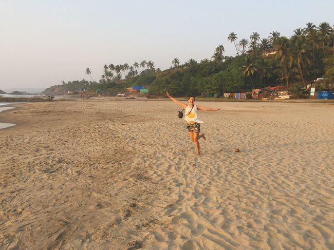 Beach Day Vacation Time India Ozran Beach Beach Beach Life Freedom Full Length Goa Happiness Happy People One Person Sea Shore Vacation Vagator Vagator Beach Young Women Childhood Arms Raised Fun Nature