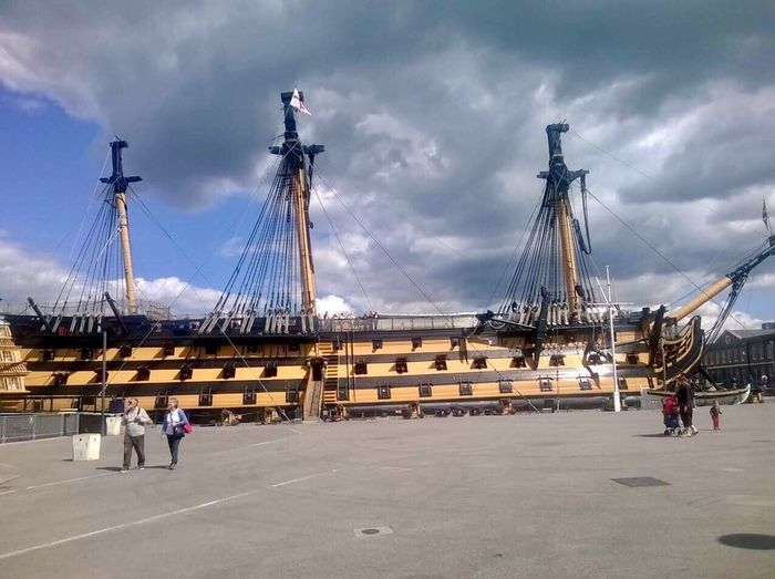HMS Victory Sky Cloud - Sky Transportation Real People Outdoors Mode Of Transport Mast Nautical Vessel Architecture Day Full Length Built Structure Men People Portsmouth Historic Dockyard Portsmouthphotographer