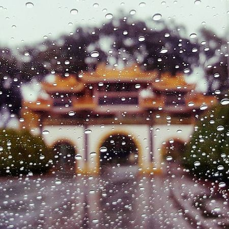 The entrance to the City of 10,000 Buddhas in Talmage, CA on a rainy day. Bodhiway Gateway Theentrance