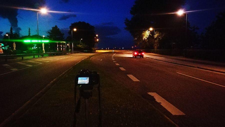 Night Illuminated Road Outdoors Sky Summer Life  Road At Night Cars Night Light Charlottenlund Denmark Night Trafic Night Lights Night Shot Night Time