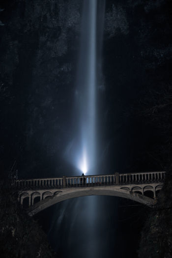 Multonamah Falls Bridge Architecture Water Night Bridge - Man Made Structure Waterfall Built Structure Nature Arch Bridge Illuminated Long Exposure Dark Outdoors Travel Destinations