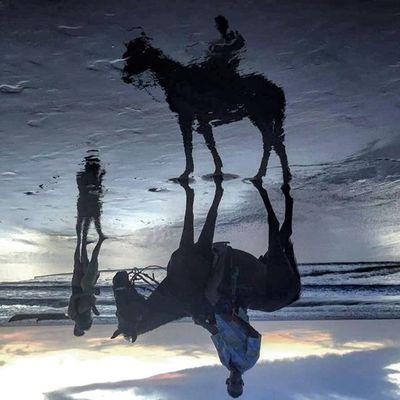 O céu, a terra e o mar nunca estiveram tão próximos Vivajeri Vemprajeri Jericoacoara Jeri Reflex Reflexo  Espelhado Pordosol Cavalgada