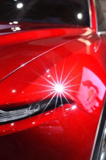 Car bling Car Red Color Car Star Flare Glare Transportation