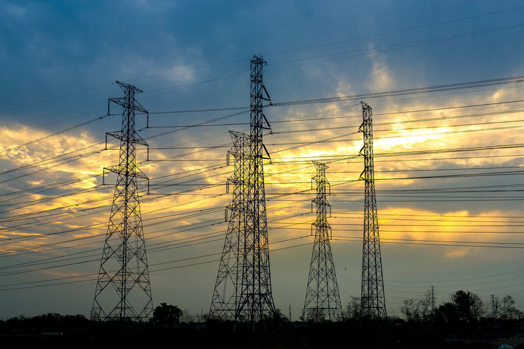 Cable Cloud - Sky Complexity Connection Electrical Equipment Electricity  Electricity Pylon Fuel And Power Generation Low Angle View Nature No People Orange Color Outdoors Plant Power Line  Power Supply Silhouette Sky Sunset Tall - High Technology Tree