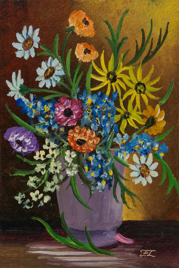 Oil painting with different flowers in several colours on a table in a purple ceramic vase ArtWork Vase Art And Craft Bouquet Bunch Of Flowers Close-up Decoration Floral Pattern Flower Flower Arrangement Flower Bouquet  Flower Head Flowering Plant Flowers Indoors  Leaf Multi Colored No People Oil Painting Painting Plant Purple Red Yellow Flowers Various Flowers Vase