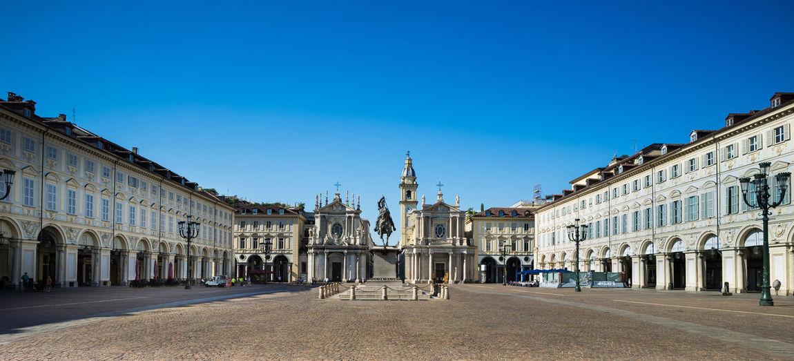 Carlo Marochetti Emmanuel Philibert Duke Of Savoy Equestrian Statue SanCarlo Square Turin Italy Architecture Baroque Style Town Square
