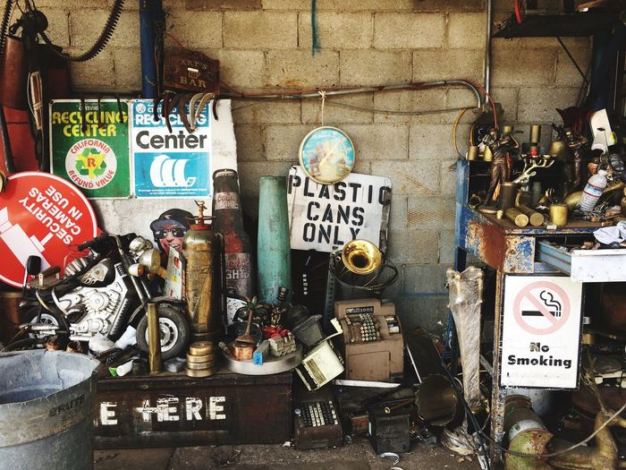 Recycle, Reduce, Reuse Chatsworth Metals Plastics Garage Sale Collectables Junk Yard Recycle Text Communication Day No People Outdoors