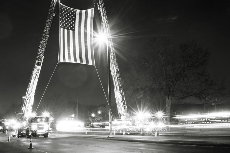 American Flag Cops America Back The Blue Blue Lives Matter Funeral Illuminated Lens Flare Long Exposure Night Officer Funeral Outdoors