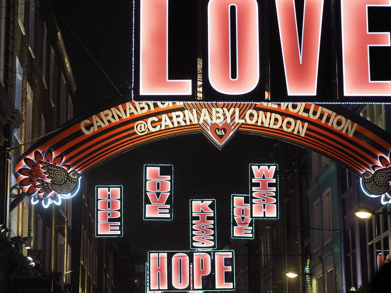 EyeEmNewHere Lighting Winter Night City Illuminated Outdoors People Text Wording Nightlife Nightphotography Love Hope Kiss