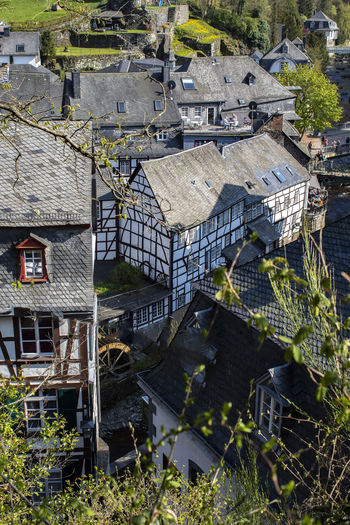 High angle view of old buildings in town