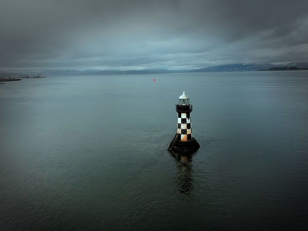 lighthouse in Port Glasgow by drone March 2018 Glasgow  Port Glasgow HDR Drone  Scotland Ocean Lighthouse Glasgow  Water Sea Reflection Sky Cloud - Sky Landscape