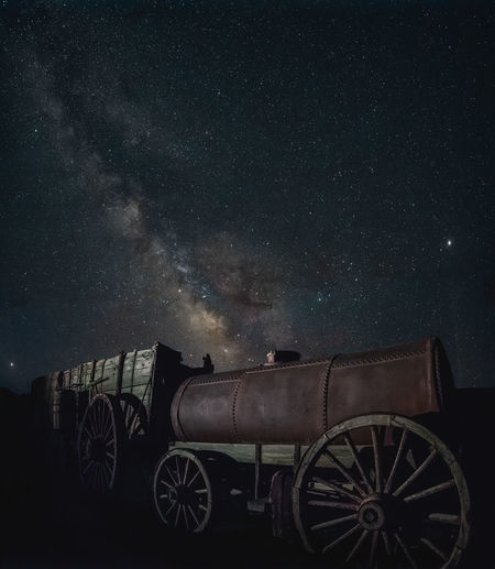 Night shot of the twenty mule wagon at the abandoned Harmony Borax Works mining site, Death Valley National Park, California, USA. Night Star - Space Sky Space Astronomy Transportation Galaxy Star Wheel Milky Way Outdoors Constellation Death Valley Death Valley National Park Twenty Mule Team Wagon Train Harmony Borax Works Abandoned Abandoned Places Night Photography Light Painting Discover Places Travel Destinations Longtime Exposure Star Field Ruined
