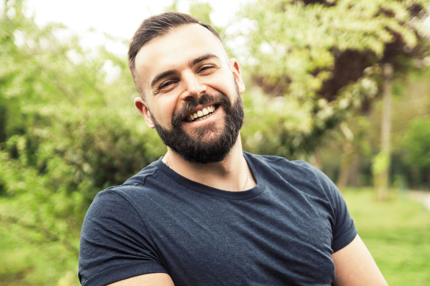Model: Roberto Materiale Beard Casual Clothing Facial Hair Focus On Foreground Front View Happiness Headshot Leisure Activity Lifestyles Looking At Camera Nature One Person Plant Portrait Real People Smiling Young Adult Young Men