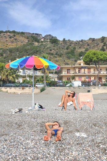 Taormina Sicily Italy Beach Water Summer Relaxation Sitting Sky Beach Umbrella Parasol EyeEmNewHere Capture Tomorrow
