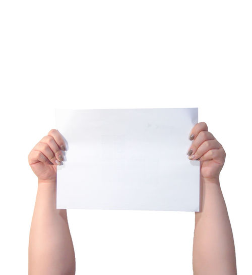 Hands raising white paper against white background Paper Holding Blank One Person Human Body Part Studio Shot Human Hand White Color Symbol Sign Quote Show Label Space Design Isolated White Background Copy Space Empty Business Demonstration Suggestions Sheet Template Arms Raised Communication