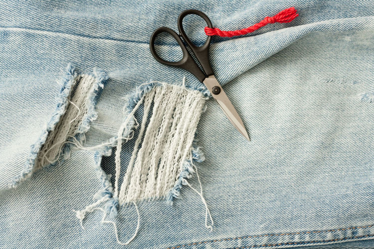 DIY Selfmade Art And Craft Close-up Clothing Craft Denim Equipment Handmade High Angle View Indoors  Jeans Man Made Man Made Object Material Needle No People Pattern Ripped Jeans Scissors Still Life Studio Shot Textile Textured  Thread