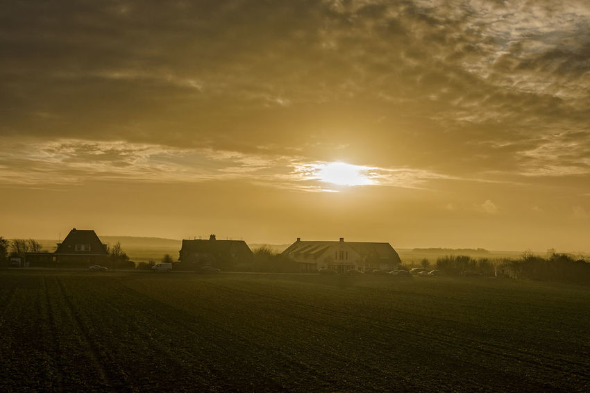 Hindenburgdamm Agriculture Architecture Backlight Beauty In Nature Building Exterior Built Structure City Cloud - Sky Day Hindenburgdamm Houses Nature No People Northseatrail Outdoors Sky Sunset