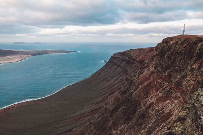 Canary Islands Lanzarote Mirador SPAIN Travel Volcanoes Cliff Clouds Coast Day Geological Formation Island Landscape Ocean Shore Volcanic  Volcano