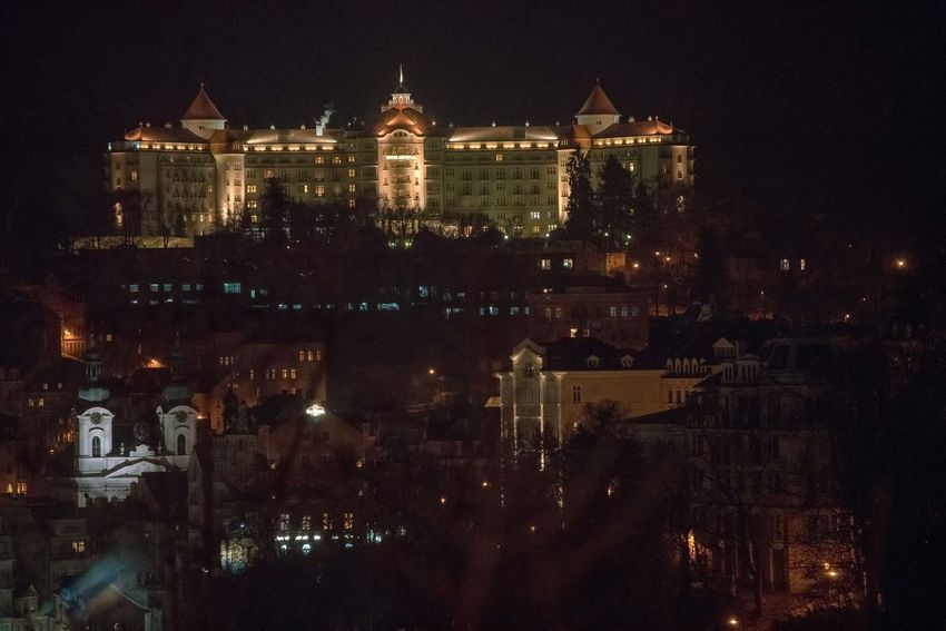 Hotel Imperial, Karlovy Vary, at night. James Bond Karlovy Vary Karlovy Vary International Film Festival 2016 Karlsbad Architecture Building Exterior Built Structure Casino Royale City Cityscape Hotel Imperial Illuminated Night No People Outdoors Sky