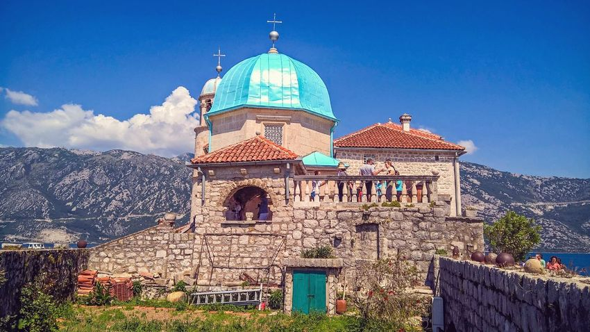 Dome Architecture Sky Religion Travel Destinations No People Building Exterior Blue Outdoors Day Beauty In Nature Beautiful Nature Vacations Summer Montenegro Kotor Our Lady Of The Rocks