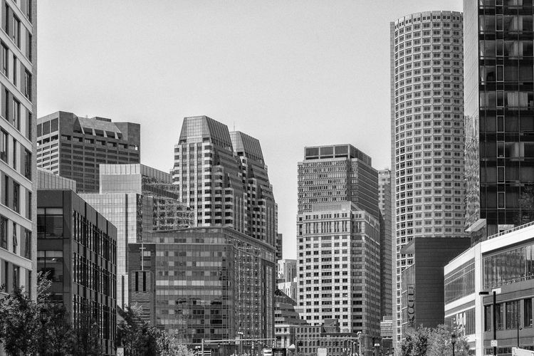 Boston, USA Boston Massachusetts USA United States Urban Skyline Downtown Building Exterior Architecture Built Structure City Building Sky Office Building Exterior No People Modern Tall - High Day Clear Sky Cityscape Financial District  Tower Residential District Blackandwhite Grayscale Grayscalephotography Capture Tomorrow Capture Tomorrow