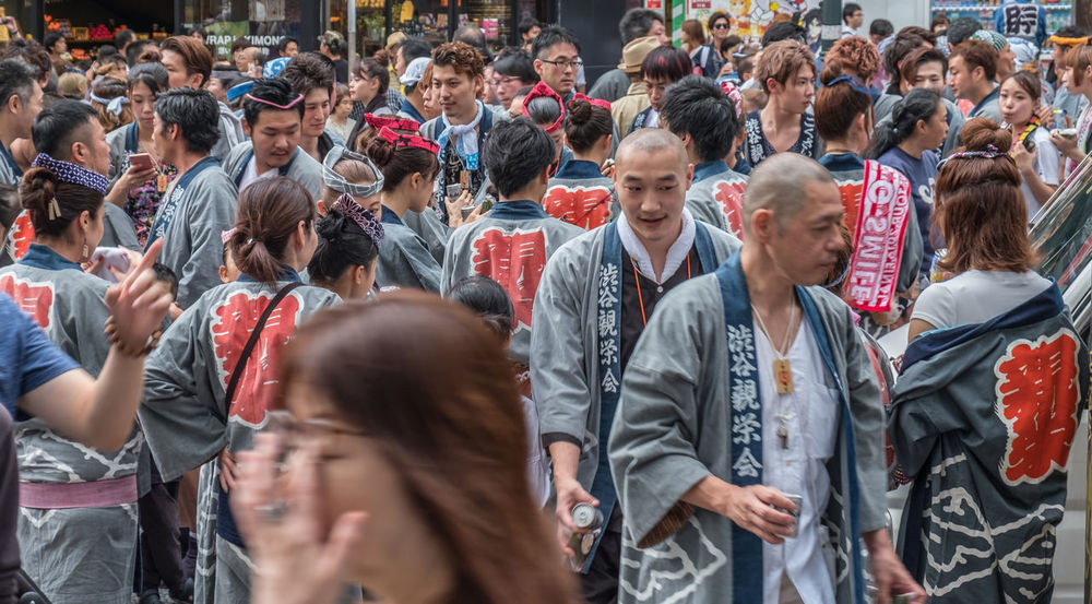Participants at the Shibuya Mukoshi (Portable Shrine) Parade Celebration Costume Crowd Culture Custom Festival Japan Japanese Festival Local Mukoshi Parade Participants People Portable Shibuya Shinto Shrine Street Street Festival Tokyo Tourism Tourist Tourist Attraction  Traditional YUKATA