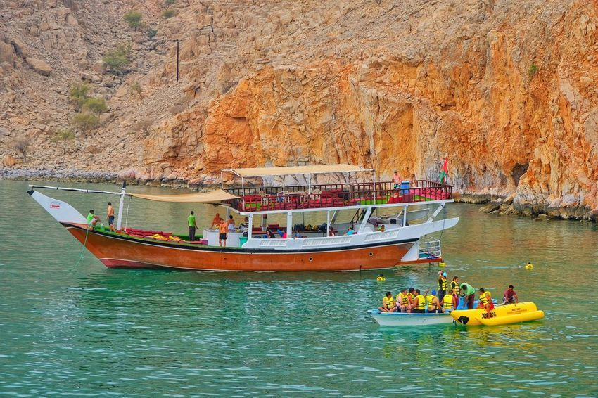 Dhow Cruise Boats Boating Boat Ride Banana Boat Musandam Oman Close-up Cruise Ship Nautical Vessel Transportation Water River Mode Of Transport Outdoors Day People Adult Nature