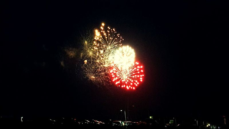 Independence Day Fireworks Night Sky Red Color PTown Provincetown  4th Of July 2016 Fire In The Sky Water Bay Boats Pier Nightlife Nighttime